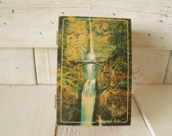 Vintage box souvenir Multnomah Falls Oregon cedar wood 1960s
