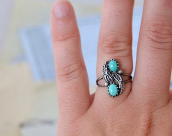 Vintage Native American Turquoise Ring - Size 5.25