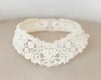 Lace Bridal Cap, Lace Circlet, Princess Grace Lace Cap, Lace Halo, Vintage Ivory Bridal Veil, Ivory Lace Crown, Ivory Cap - STYLE 39