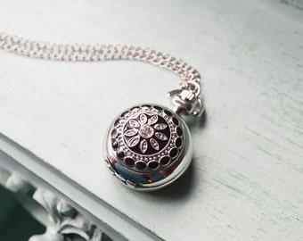 Black Flower Silver Pocket Watch Necklace