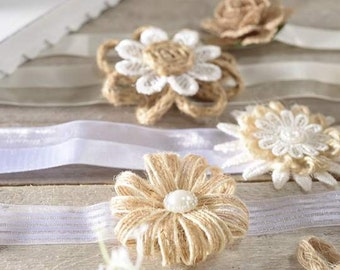 Jute and Lace Flowers with Ribbon 6 pcs Assorted