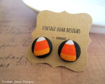 Halloween Earrings,Halloween Button Earrings,Candy Corn Earrings,Candy Corn Studs,Halloween Jewelry,Button Earrings,Fabric Jewelry,Halloween