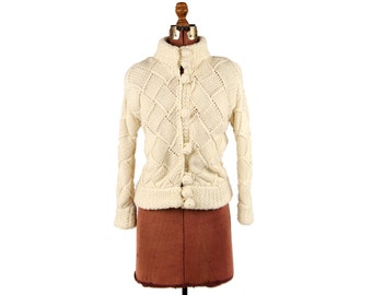 Vintage 1980's Chunky Soft Nordic Knit Argyle Weave Round Collar Thick Winter Cardigan Sweater S