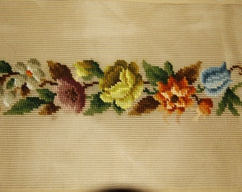 "Vintage floral needlepoint runner, gray brown green white blue rose, handstitched, 64"" x 10"", no holes or bad odors, part done"