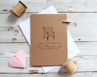 3rd Anniversary card - Third Wedding Anniversary Card - Leather Anniversary -Anniversary Card - Leather