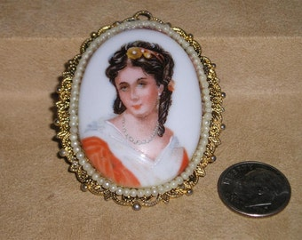 Vintage Limoges France Cameo Brooch Porcelain 1950's Signed Jewelry 2080