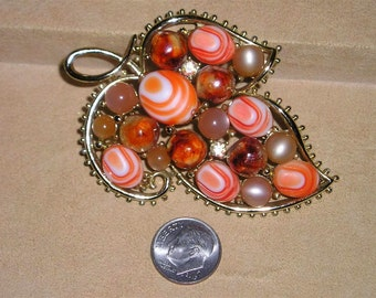 Vintage Rhinestone layered Orange And White Glass Brooch With Lava Rock Lucite Accents 1960's Jewelry 2210