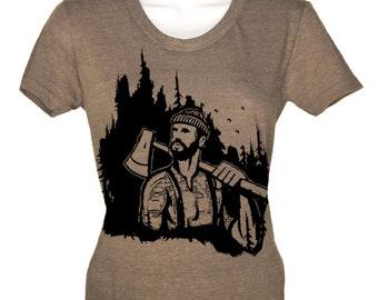 Women's T Shirt Lumberjack Woodland T-Shirt - American Apparel Tshirt - S M L XL (20 Color Options)