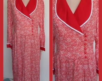 Vintage Lanz Dress Red Floral Size 14 Lanz Originals 1980's NOS