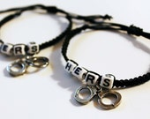 2 Lesbian Couple Hers Handcuff Charm Macrame Bracelet LGBT Pride BDSM