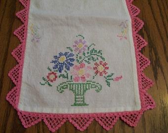 Vintage Embroidered Table Runner Pink Crocheted Border Cross Stitch Flower Bouquet Multi Color Flower Basket Springtime Colors