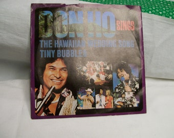 Tiny Bubbles DON HO 45 RPM Record Hawaiian Wedding Song Vintage Record in Original Just Jacket Famous Song from Hawaii Sung by Don Ho