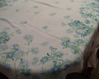 "Luther Travis Signed Tablecloth Vintage Blue Daisies Table Cloth Circa 1960s Blue & White Daisy Pattern 48"" x 62"""