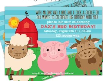 Barnyard Party Invitation, Farm Animal Party Invitation, Pig, Cow and Sheep Invitation - 5x7 Printable