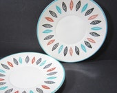 Two Saucers / Marcrest Nordic Mint Leaf Design / Dinnerware Set / 1950s 1960s / Made in U.S.A. / Mid Century Modern