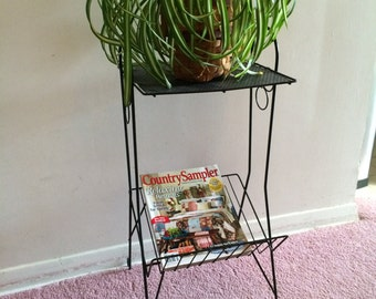 Black Metal Stand, Magazine Stand, Plant Stand, Album Stand, Book, Telephone Stand, Modern Table,  2 Shelf Stand, Side Table, Mesh Table