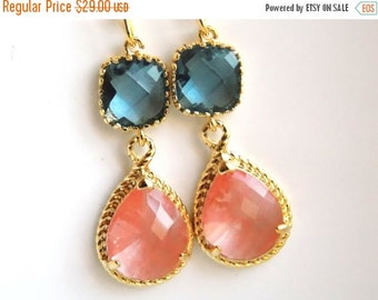 SALE Gold Coral Earrings, Navy Blue Earrings, Peach, Bridesmaid Jewelry, Wedding Jewelry, Bridesmaid Earrings, Bridal Jewelry, Bridesmaid Gi
