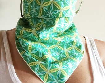 Bandana // Spring Green Flower of Life // Summer // Music Festival // Dust Mask // Handkerchief