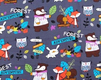 C216 - 145cmx100cm Cotton  Fabric - Cartoon - Forest adventure - owl, rabbitand fox