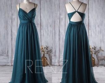 2017 Dark Turquoise Bridesmaid Dress, Open Back Wedding Dress, Spaghetti Straps Prom Dress, Long Chiffon Evening Gown Floor Length (J026)