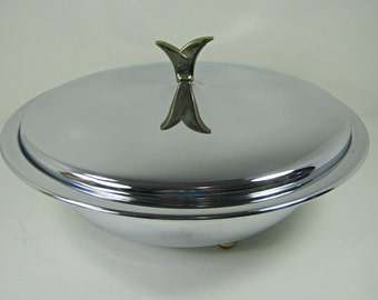Vintage KROMEX CASSEROLE & Lid CHROME Serving Dish Retro Chrome Barware