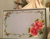 Hand painted light blue shabby chic vintage tray with pink cabbage roses