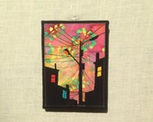 Acid Rain Sunset, 6x8 inch canvas,  freehand applique fiber art, all recycled fabrics, sewn on a 1968 Singer, ready to hang