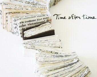 Time After Time - Contemporary book art piece, original artwork, paper story, promise, handwritten text, black ink, home study art, 8x10