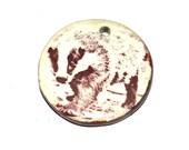 Ceramic Badger Pendant Connector Handmade Hand Drawn Stoneware Pottery