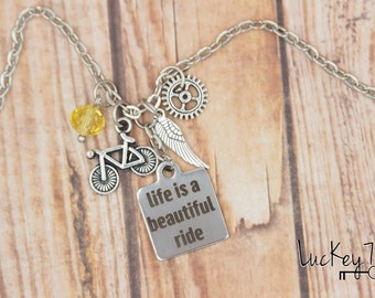WHOLESALE LOT OF 6 Cycling Necklace, Cycling Charm Necklace, Bicycle Necklace, Bike Jewelry, Bicycle Jewelry, Cycling Jewelry