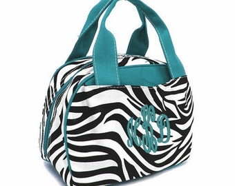 SALE Personalized Zebra Lunch Tote Insulated Zebra and Teal