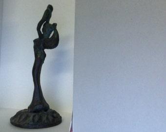 Vintage Metal Woman Goddess Figure Winged 4.5 inch