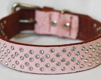 Pink Leather Dog Collar, Over 100 Handset Crystal Rivets, Custom Leather Dog Collar, Sizes Small to XL.