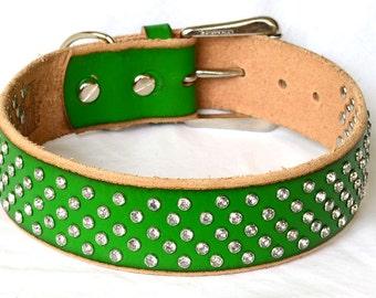 SALE, Green Leather Dog Collar, XL Dog Collar, Custom Leather Dog Collar, Full Grain Leather Dog Collar, Size Large to XXL.