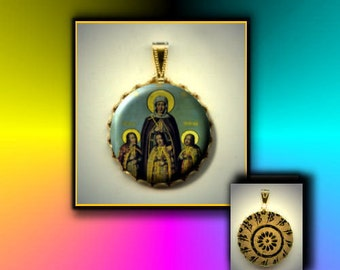St. Sophia patron saint of martyrs Mother of Faith Hope and Love hand pressed flat button CABOCHON in Brass Charm / Pendant