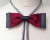 Burgundy silk bow tie with grey leather and grey bolo cord (B20)