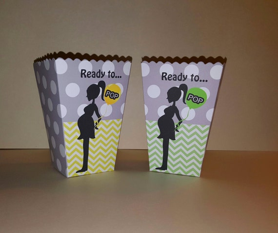 12 Ready To Pop Popcorn Boxes Unisex Baby Shower Snack Boxes