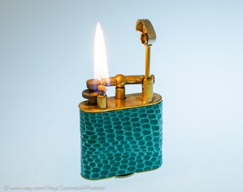 Working 1930s Golden Wheel Lift Arm Pocket Lighter with Lizard Skin Covering