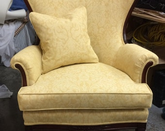 Gold Damask Balloon-Back Wing Chair - Totally Refurbished