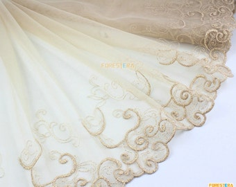 Terylene Lace Trim Tulle Lace Trim Floral Embroidery Lace Trim 27cm Width -- 2 Yards (LACE217)