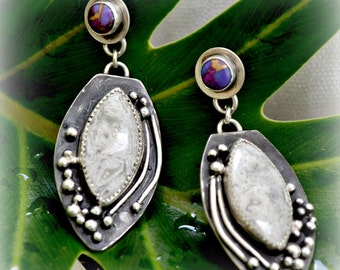 "mojave turquoise and lace agate sterling silver earrings.  ""Dew Drops"""