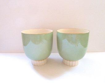 Rare Pair of Vintage Sea Green Lenox Art Deco Vases