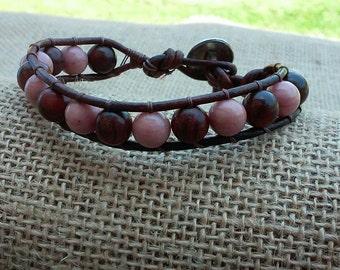 Leather Wrap Bracelet, Beaded Bracelet