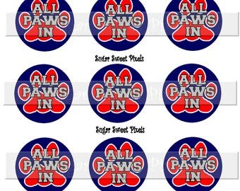 INSTANT DOWNLOAD Navy Blue Red All paws in  Paw Print   1 inch Circle Bottlecap Images 4x6 sheet