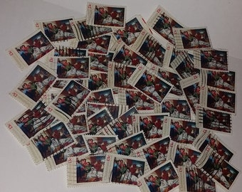 50 Christmas Nativity USA postage stamps Vintage paper ephemera supplies 13 cent  illustration image used cancelled lot of 50