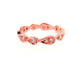 rose gold diamond chasing droplets stackable wedding band