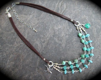 """Boho style leather and turquoise triple strand necklace with Briolette and Bird detail 15 1/2"""" with 3"""" extender chain Great Gift for her!"""