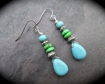 SALE Green Turquoise Teardrop earrings with Bali Style beads and Stainless Steel ear wires wire wrapped gemstone earrings