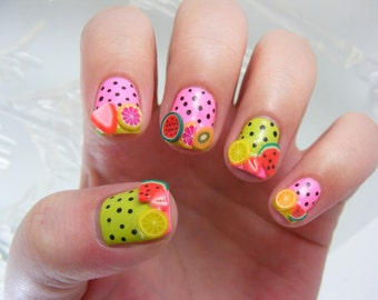 Polymer clay assorted fruit canes/ Nail Art Decorations