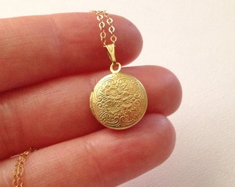 Gold Locket Necklace -Locket Necklace in Gold -Small Gold Locket Necklace